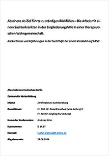 Andreas Kühn: Rückschlüsse und Erfahrungen in der Suchthilfe bei einem Verdacht auf FASD